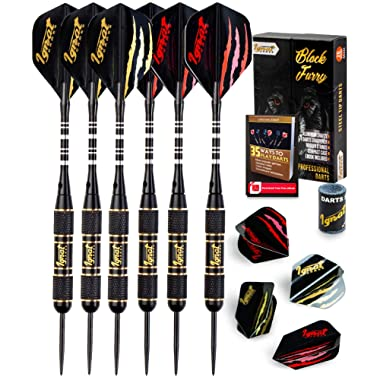 IgnatGames Steel Tip Darts Set - Professional Darts with Aluminum Shafts, Rubber O'Rings, and Extra Flights + Dart Sharpener + Innovative Case + Darts Guide (Tungsten and Brass)