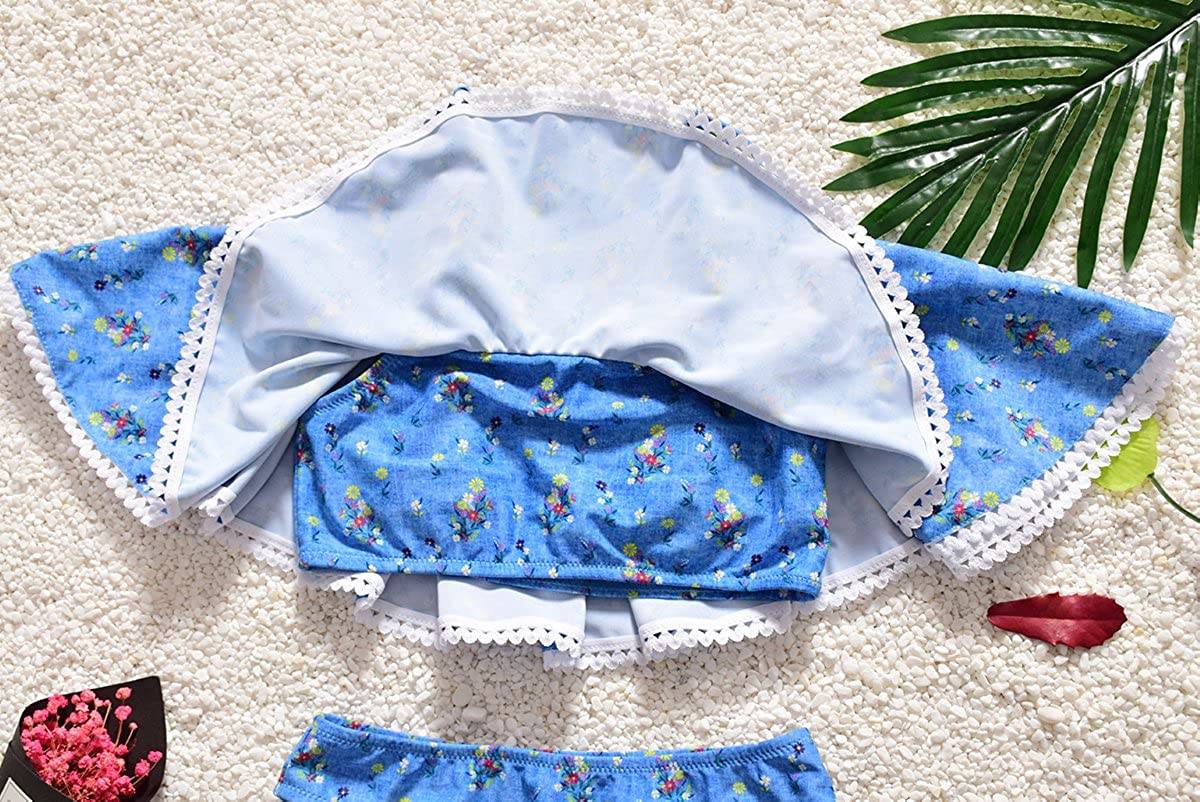 IPBEN Bikini Set Swimwear Summer Beach Girls Sweet Floral Pattern Two Piece Swimsuit