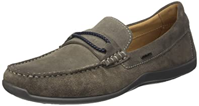 Geox Shoes U Xense Moc C Mens Suede Leather Moccasins-Grey-11
