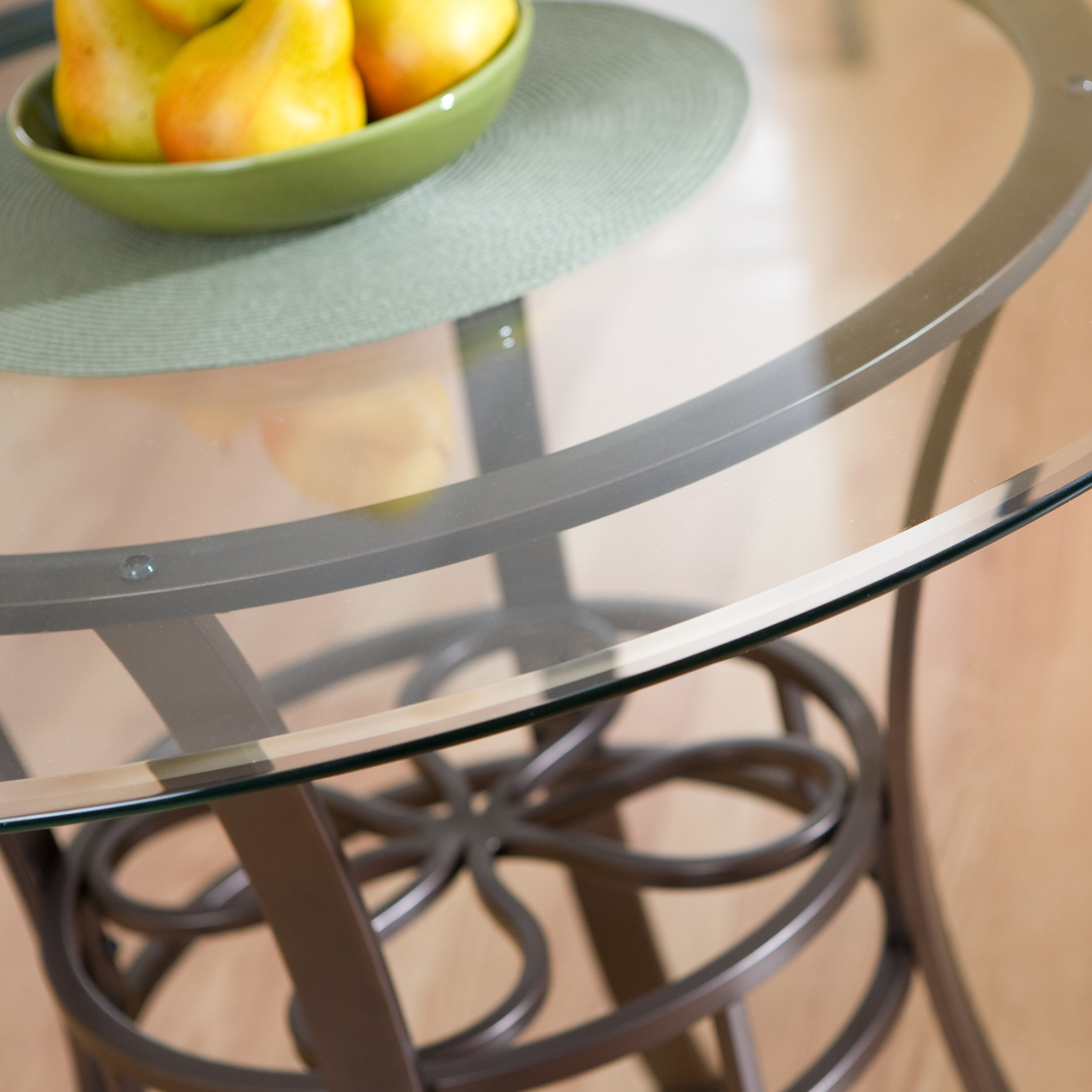 Southern Enterprises Lucianna Glass Top Dining Table, Dark Brown Finish by Southern Enterprises (Image #3)