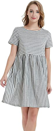 Ashir Aley Woman Striped Dress Casual Cute Dress with Pockets Plus Size  Midi Dresses for Women