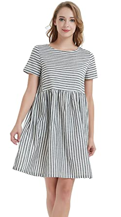 cc9de0bea03 Ashir Aley Black and White Striped Dress Women Midi Dress Short Sleeve(M