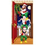 Beistle Christmas Elves Door Cover, 30-Inch by 5-Feet, Multicolor