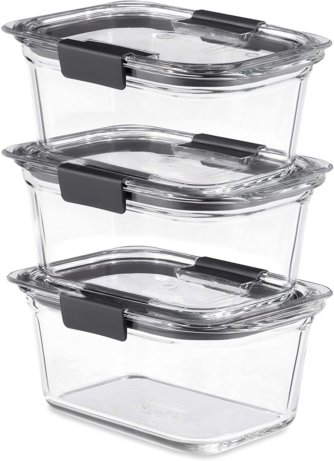 Rubbermaid Brilliance Glass Storage 4.7-Cup Food Containers with Lids, 3-Pack (6 Pieces Total), BPA Free and Leak Proof, Medium, Clear