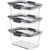 Rubbermaid Brilliance Glass, 4.7-Cup Lids, 3-Pack (6 Pieces Total) Food Storage Container, Clear