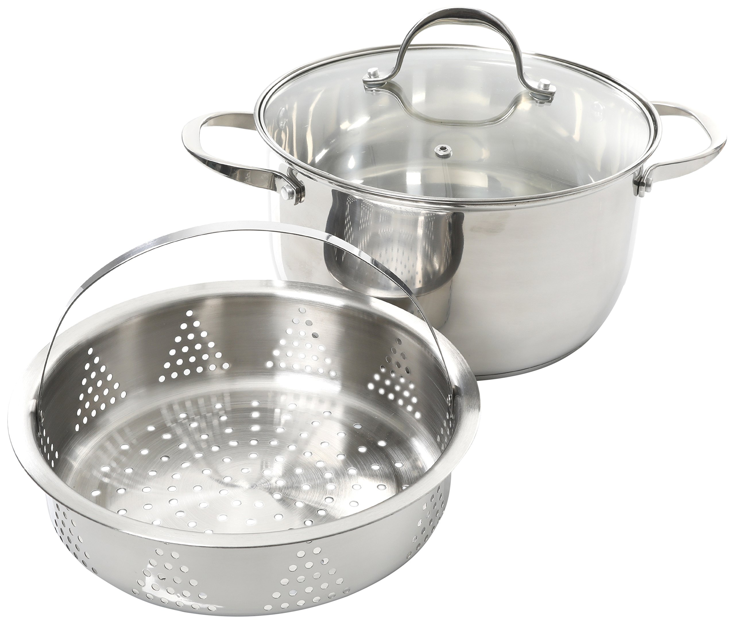 Weight Watchers 64512.03 Brenta Stainless Steel Dutch Oven W Lid, 6Qt Steamer, Silver
