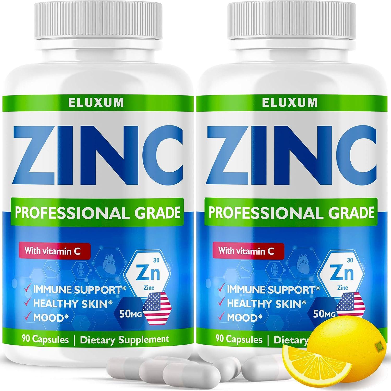 (2 Pack) Zіnс Picolinate 50Mg with Vіtаmіn C for Immune Support Booster - Zіnс Supplement for Men, Women, Kids - Good for Skin, Hair, Mood & Sleep - Made in USA - 180 Capsules