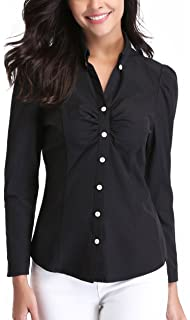 715f7d2b2c35f MISS MOLY Women s Button Down Shirt Long Sleeve Point Collar Ruched Chest  Basic Tops Blouse Casual