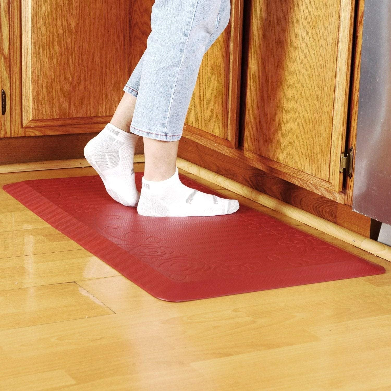 Amazon Com Cook N Home Anti Fatigue Comfort Mat 39 X 20 Red 3 4 Thickness 39 By 20 Kitchen Dining