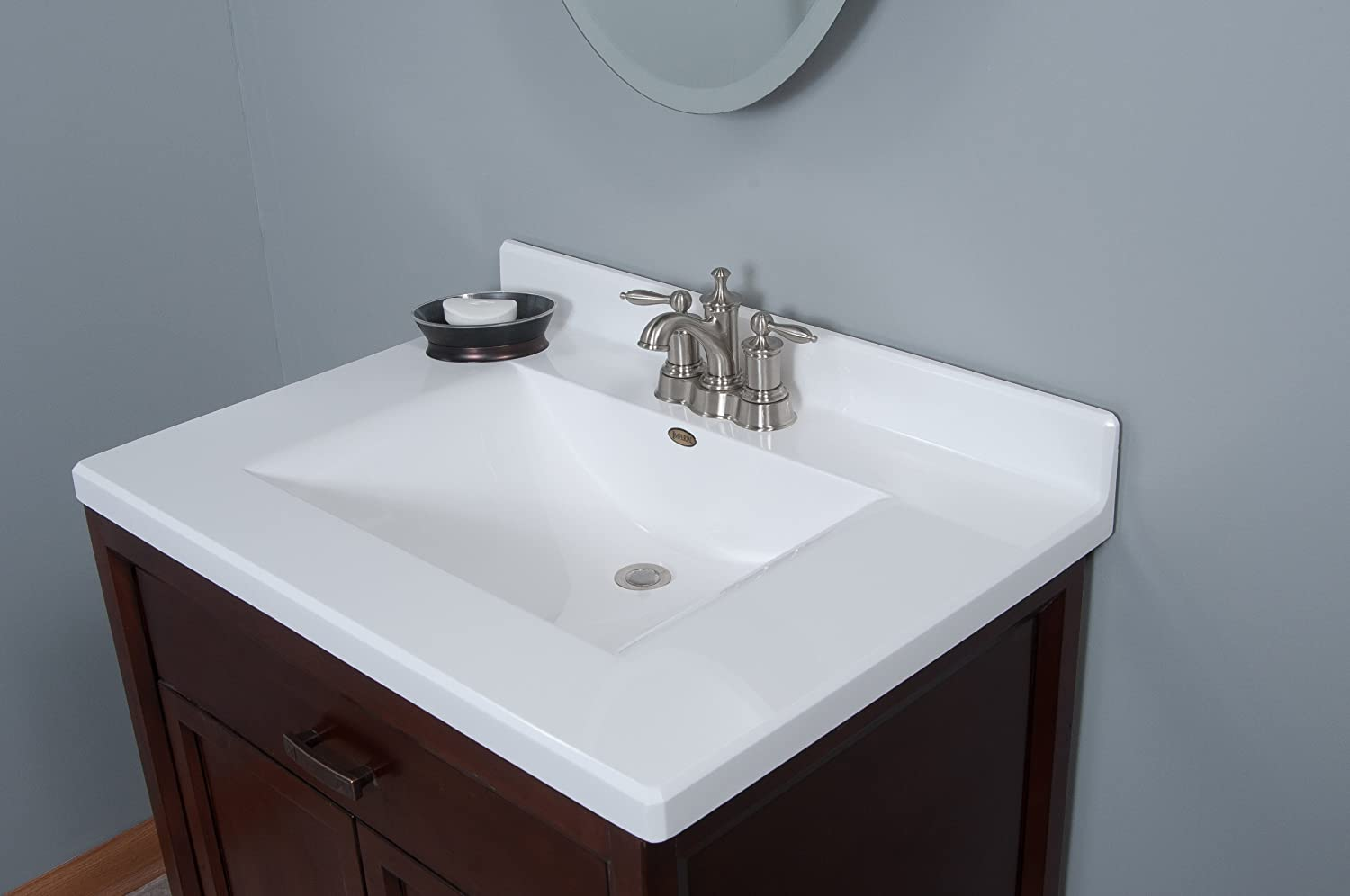 Imperial FW3122SPW Center Wave Bowl Bathroom Vanity Top, Solid White ...