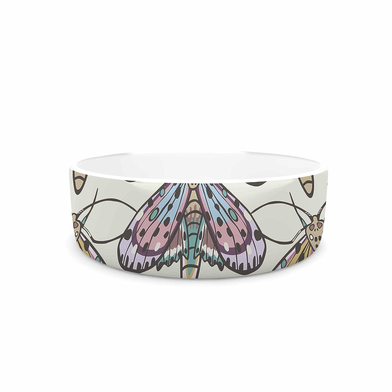 "KESS InHouse Amanda Lane ""Boho Gypsy Moth"" Multicolor Digital Illustration Pet Bowl, 4.75"" Diameter chic"