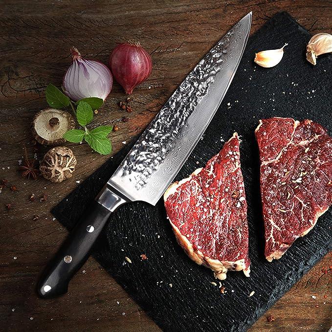 YARENH Cuchillos de Cocina Profesionales 20 cm,Cuchillo Cocina de Acero de Japonés Damasco,Mango de Madera Ebony,Cuchillo de Chef Ultra Filoso ...
