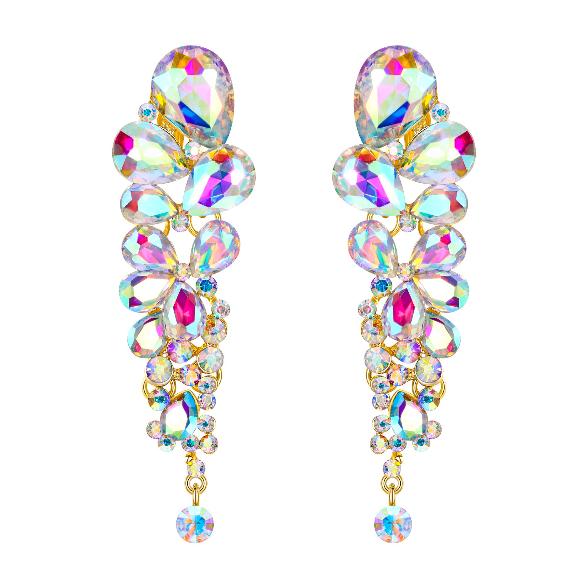 EVER FAITH Women's Austrian Crystal Tear Drop Clip-on Dangle Earrings Iridescent Clear AB Gold-Tone by EVER FAITH