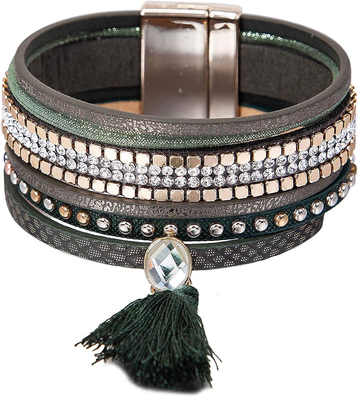 Boho – Pulsera enroscable con Perlas y Brillantes, Modelo Jungle, Verde y Tonos Naturales, Piedras Preciosas, fantásticas Joyas para Mujeres y niñas, Incluye Gran Bolsa para Joyas.