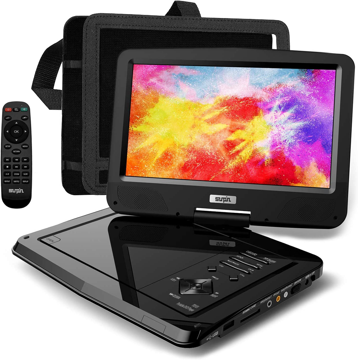 """SUNPIN Portable DVD Player 12.5"""" for Car and Kids, 10.1 inch Eyesight Protective HD Swivel Screen, Stereo Speakers&Dual Earphones Jack, Support Sync TV/USB/SD Card, Car Headrest Mount Case,Black"""