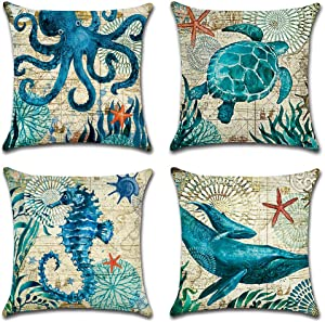 Artscope Set of 4 Decorative Throw Pillow Covers 18x18 Inches, Blue Marine Life Pattern Waterproof Cushion Covers, Perfect to Outdoor Patio Garden Living Room Sofa Farmhouse Decor