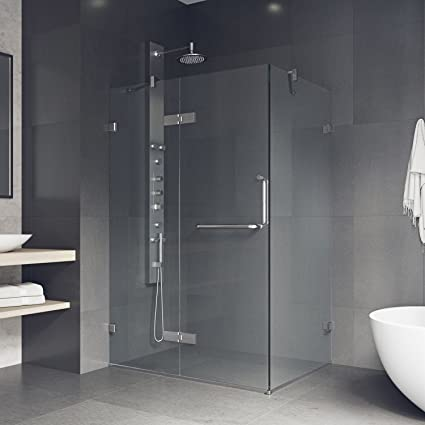 Merveilleux VIGO 32 X 48 Inch Frameless Rectangular Hinged Pivot Shower Door Enclosure  With Tempered Glass