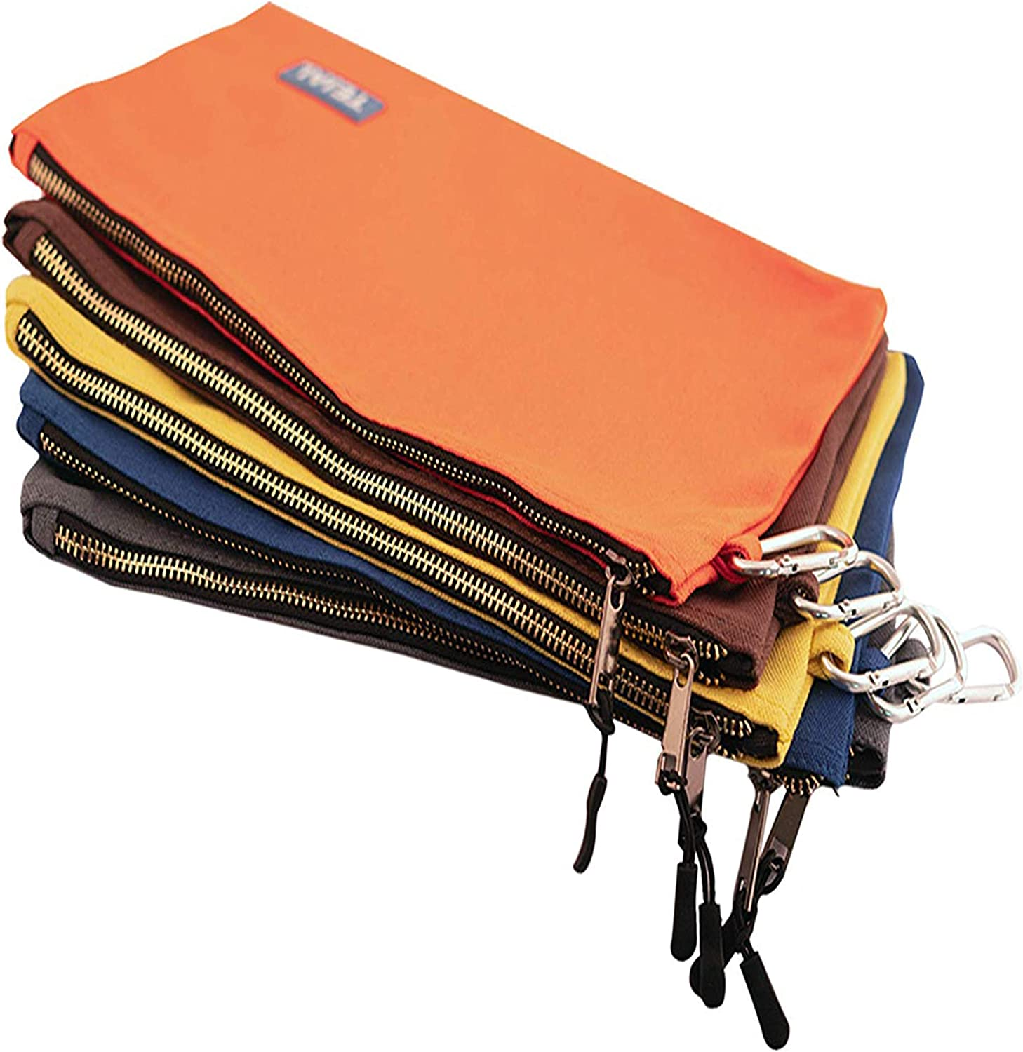 TEJAL Utility Canvas Zipper Tool Bag - Heavy Duty Tools Pouch with Carabiner, Multi-Purpose Storage Organizer Clip on Tote Bags in Orange, Yellow, Gray, Blue & Brown – 16 Oz, 5 Pack