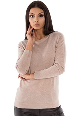 7a98437551be24 KNITTONS Women's 100% Italian Merino Wool Classic Crew Neck Sweater Long  Sleeve Pullover (Beige