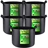 VIVOSUN 5-Pack 1 Gallon Heavy Duty Thickened Nonwoven Fabric Pots Grow Bags with Handles