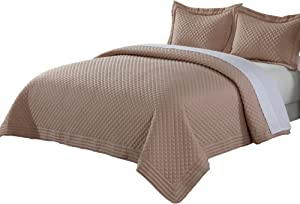 Lotus Home Diamondesque Water and Stain Resistant Microfiber Quilt, Full/Queen, Taupe