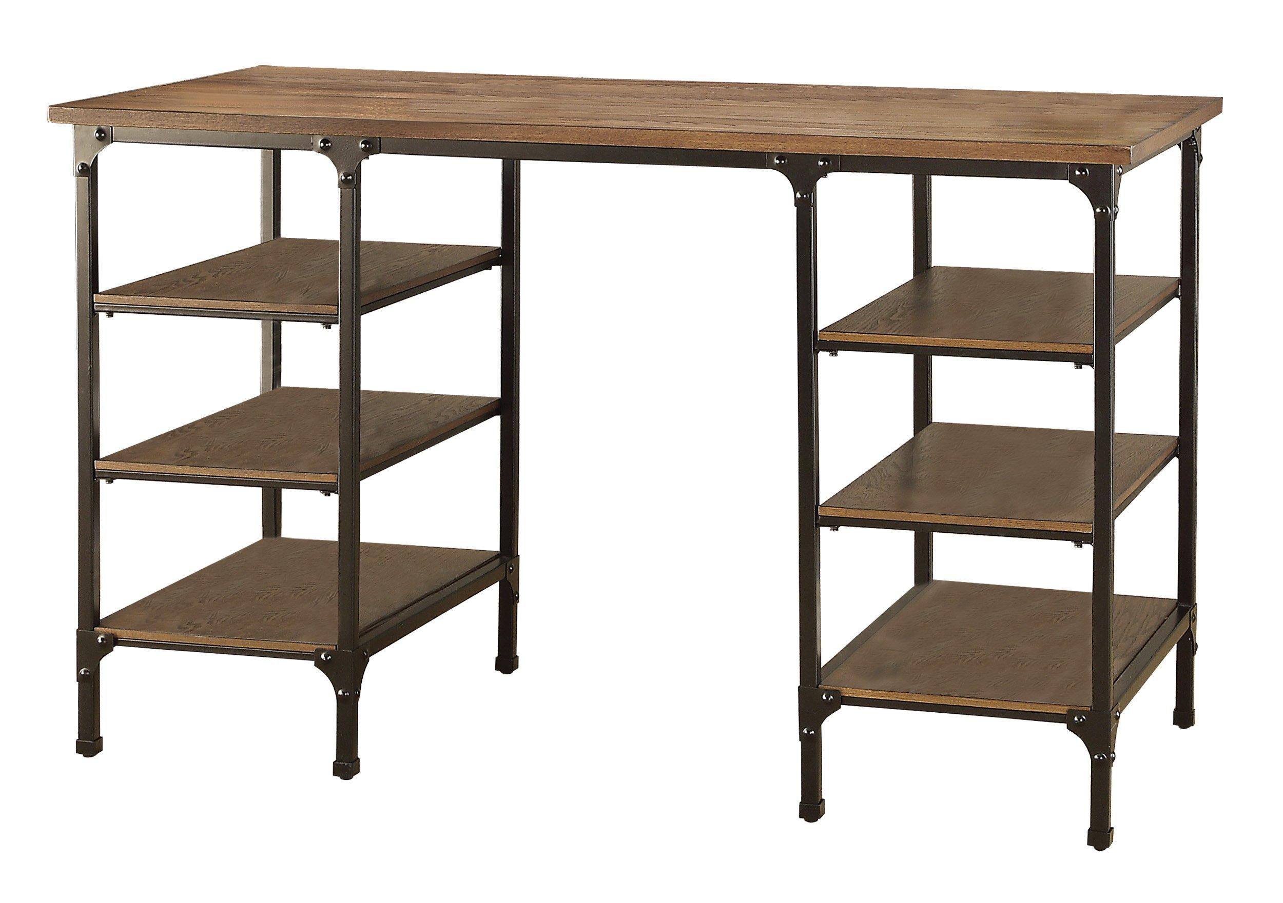 Homelegance Counter Height Metal Writing Desk with Open Shelves, Dark Oak Finish
