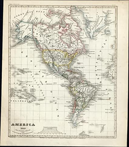 Amazon.com: North & South America continents Canada Mexico USA 1849 ...