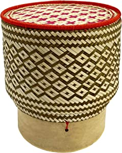 """PANWA Bamboo Sticky Rice Serving Basket Handmade 100% Eco-Friendly Thai Kratip Container - """"Prestige Collection Hibiscus Red and Caramel"""" with Vegetable Plant Based Dye - Food Safe - 6 Inch Diameter"""