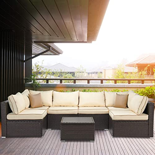 Laurel Canyon Outdoor Patio Furniture 7 Piece Rattan Sectional Sofa