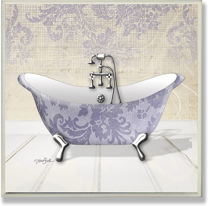 The Stupell Home Decor Collection Purple Damask Claw Foot Tub Bathroom Wall Plaque