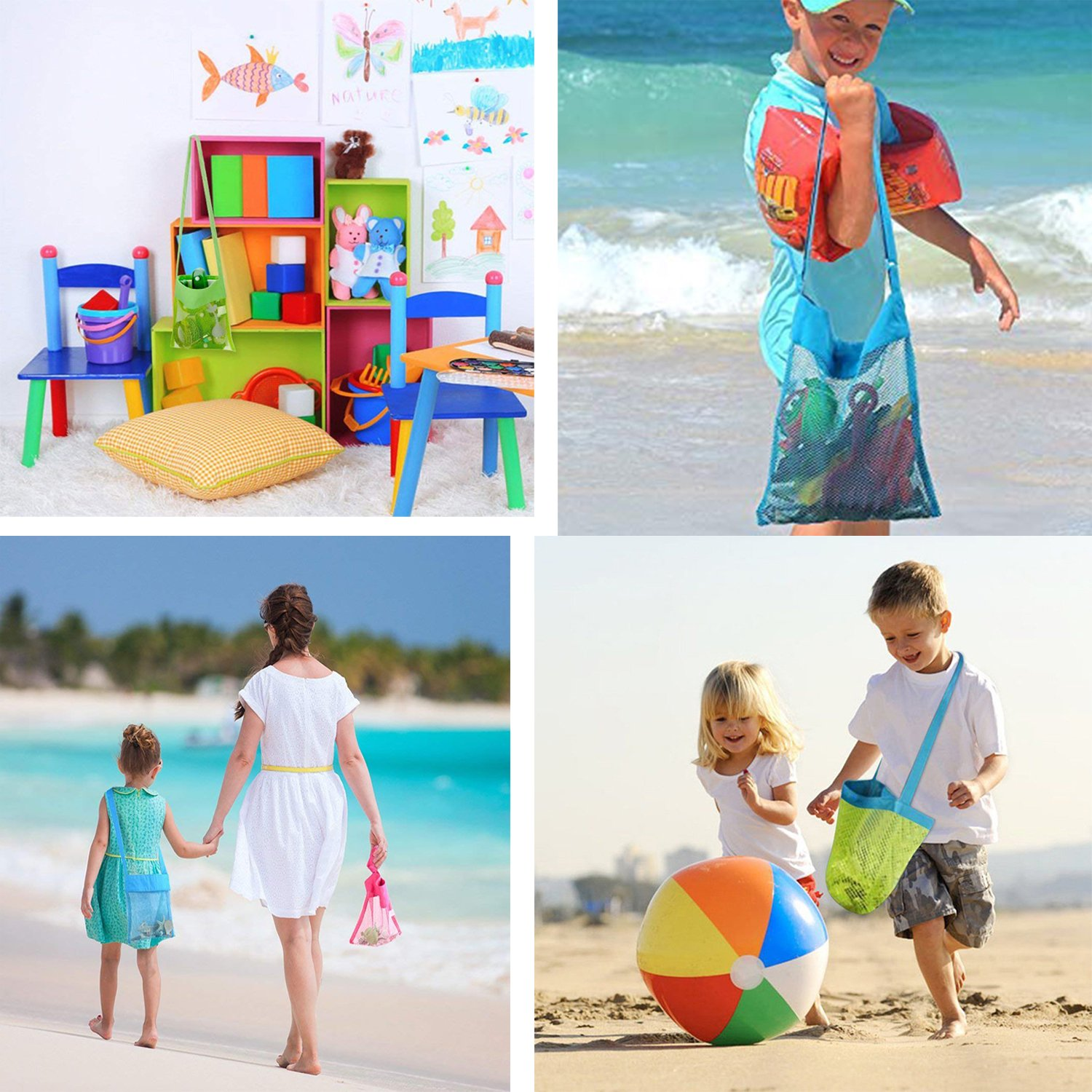 """Bylove 5 Pieces Colorful Mesh Beach Bags Breathable Sea Shell Bags Toy Storage Bags with Adjustable Carrying Straps (5 pieces, 9.8"""" x 9.4"""") by Bylove (Image #5)"""