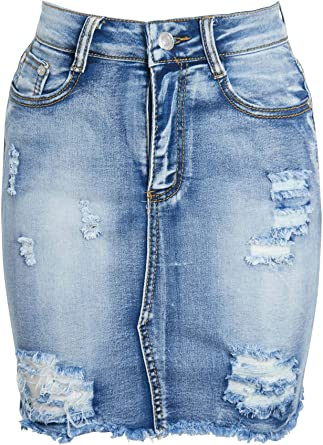 Frayed Ripped Denim Jeans Full Length Acid Wash Zip Pocket Ladies Distressed