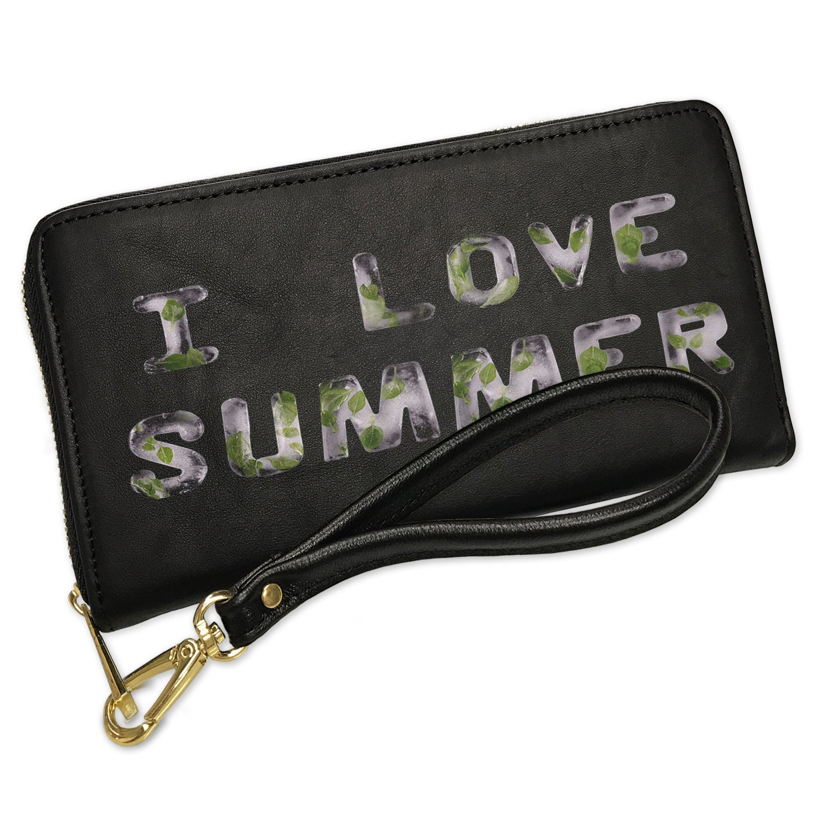Wallet Clutch I Love Summer Fresh Ice Tea Nature with Removable Wristlet Strap Neonblond
