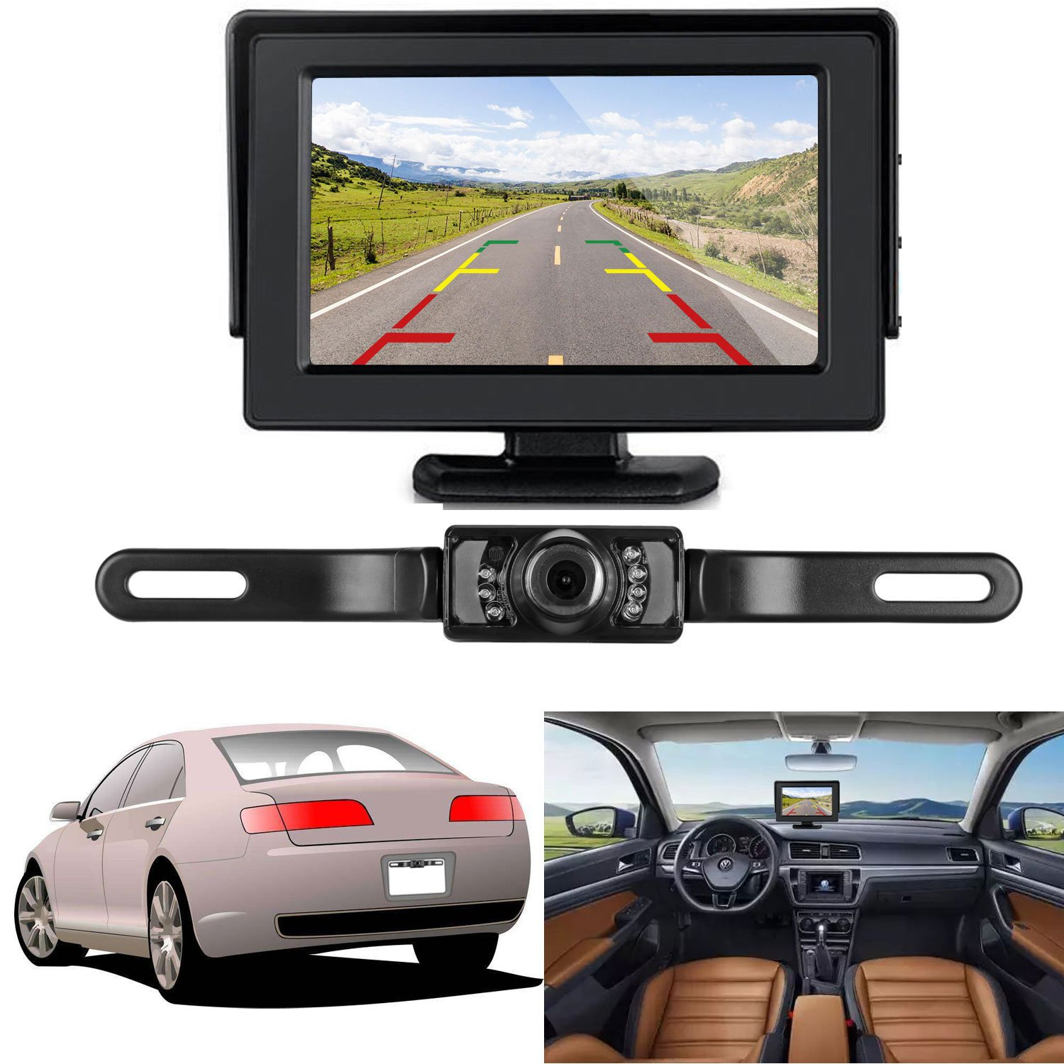 ZSMJ Backup Camera and Monitor Kit Single Power for Rear View/Fulltime View Optional Reverse Camera/Rear View Camera Waterproof Night Vision 4.3 Display with 20ft Video RCA Cable Grid Lines
