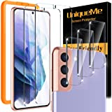 [2+3 Pack] UniqueMe Screen Protector Compatible for Samsung Galaxy S21+ Plus 5G (6.7 inch) 2 Pack Tempered Glass and 3 Pack C