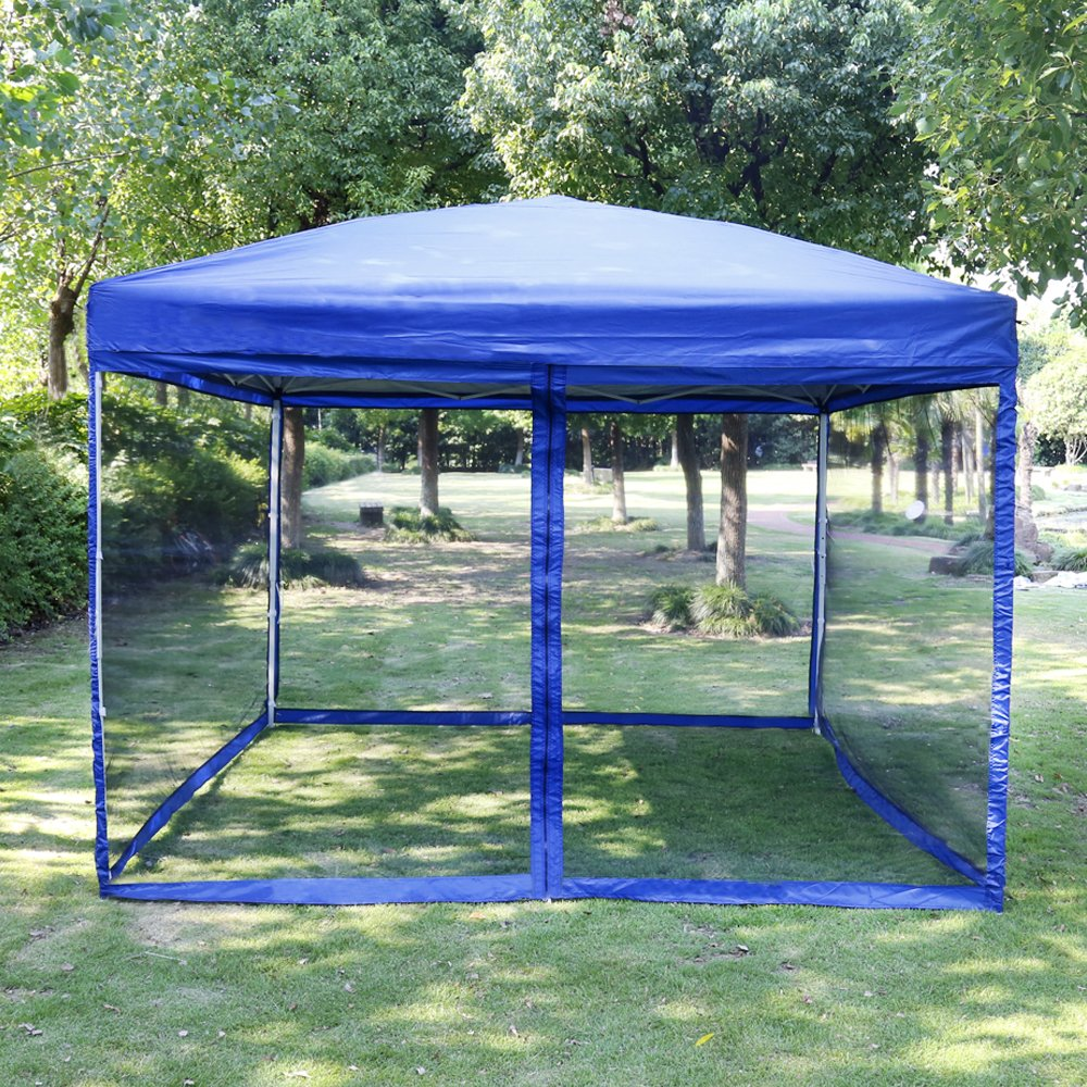 VIVOHOME Outdoor Easy Pop Up Canopy Screen Party Tent with Mesh Side Walls Blue 10 x 10 ft