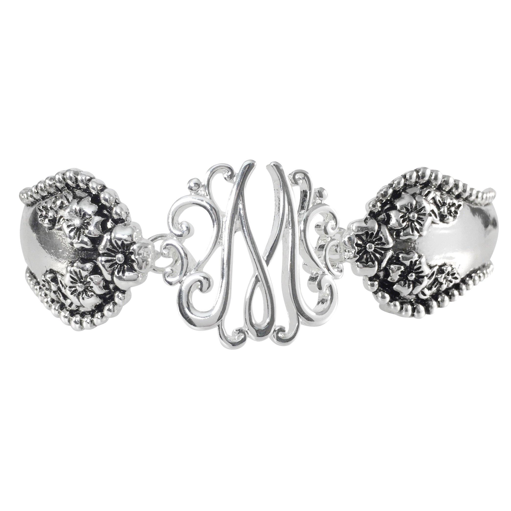 Spoon Handle Style Monogram Initial Silver Tone Magnetic Clasp Bracelet (Letter M)