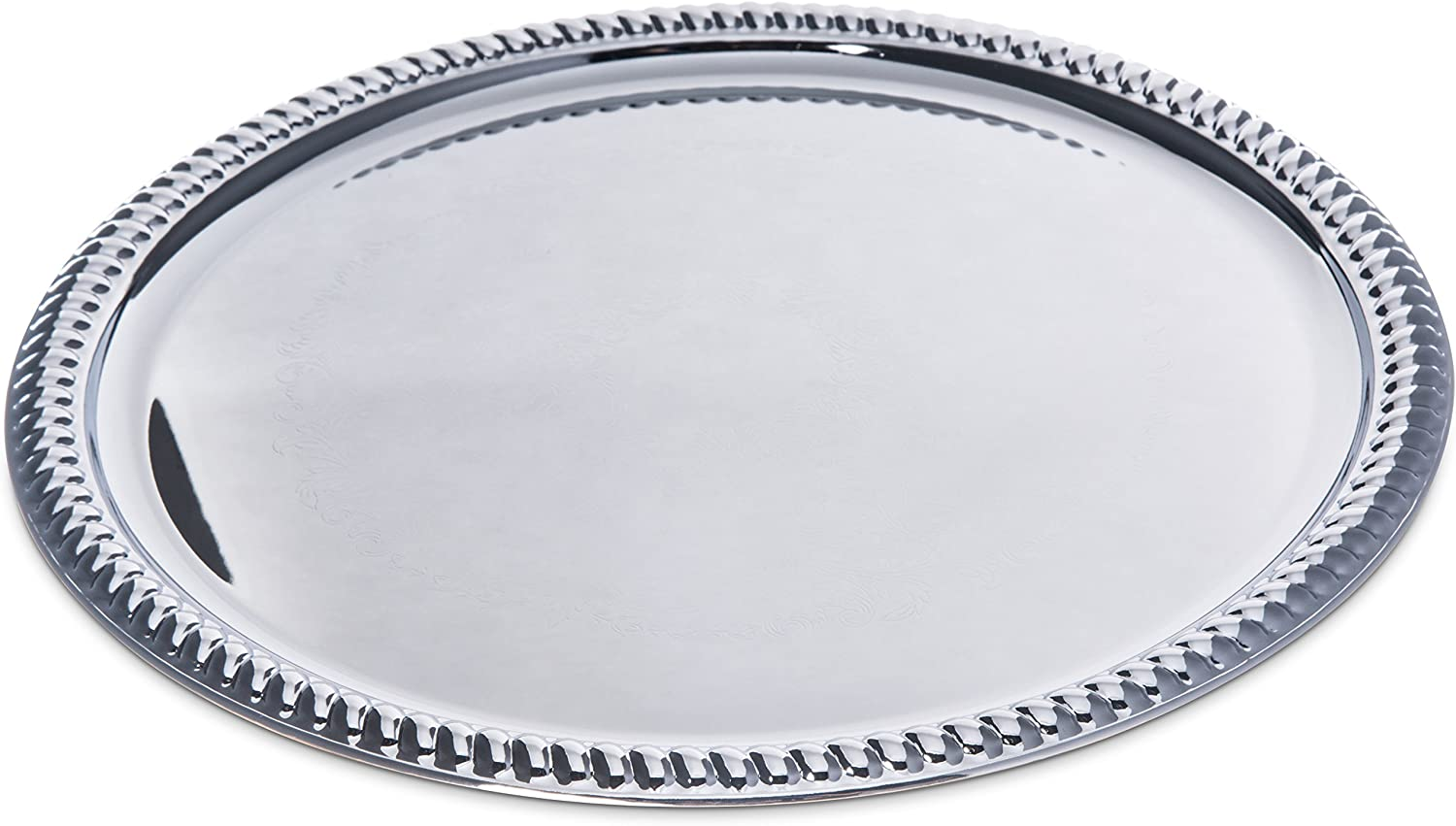 Carlisle 608907 Round Chrome Plated Serving Tray, 14