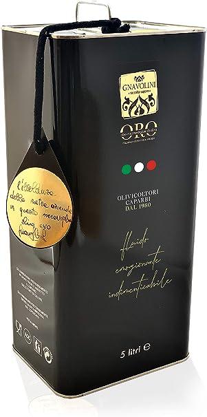 Olio extravergine di oliva 100% italiano estratto a freddo di gnavolini raccolta sapore | latta da 5 litri B086F1GW15