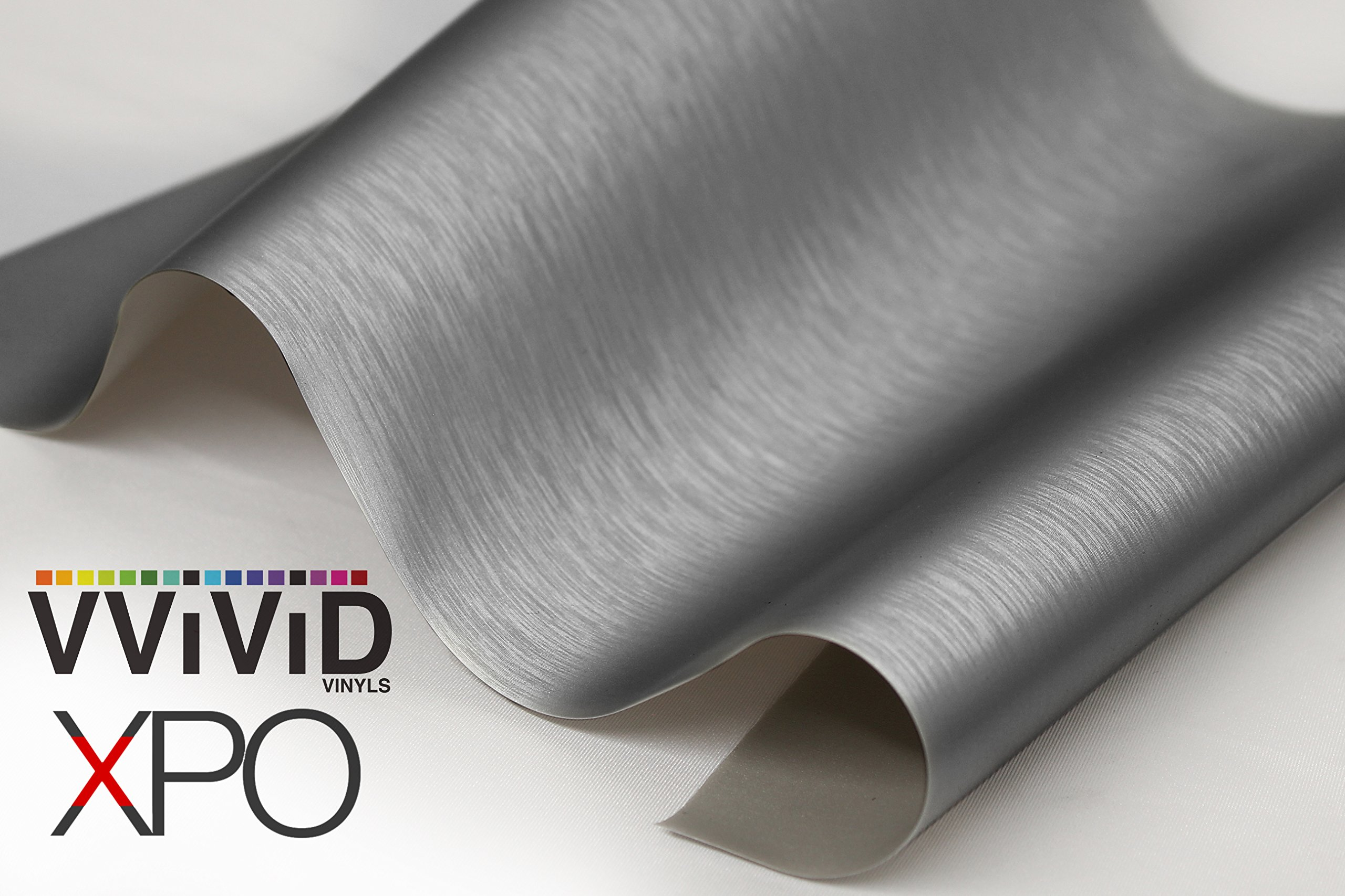 VViViD XPO Gunmetal Grey Brushed Metallic Steel Vinyl Wrap Roll with Air Release Technology (25ft x 5ft)