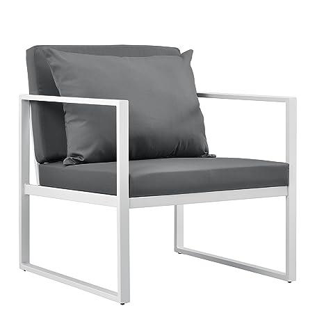 casa.pro ® 2 x Garden Chair 70x60x60cm Outdoor Furniture Set of 2 White