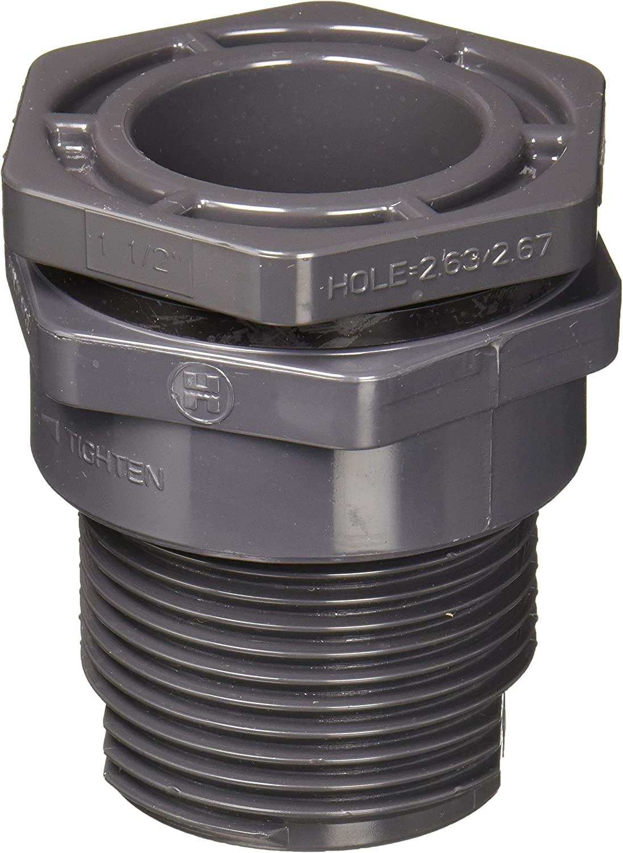 Hayward BFA1015CES 1-1/2-Inch Gray PVC Socket by Thread BFA Series Bulkhead Fitting with EPDM Standard Flange Gasket