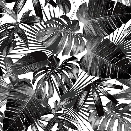 Black White Tropical Palm Tree Pattern Peel And Stick Wallpaper