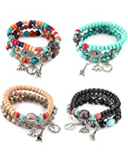 Thunaraz 4 Sets Bohemian Stretch Beaded Bracelets for Women Girls Multilayer Stackable Bracelets Strand Bangles