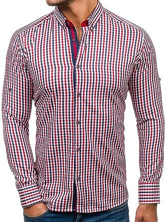 BOLF Langarm Herrenhemd Hemd Figurbetont Slim Fit RED Polo 2125  Rot-Dunkelblau XXL  2B2 23b0926ec8