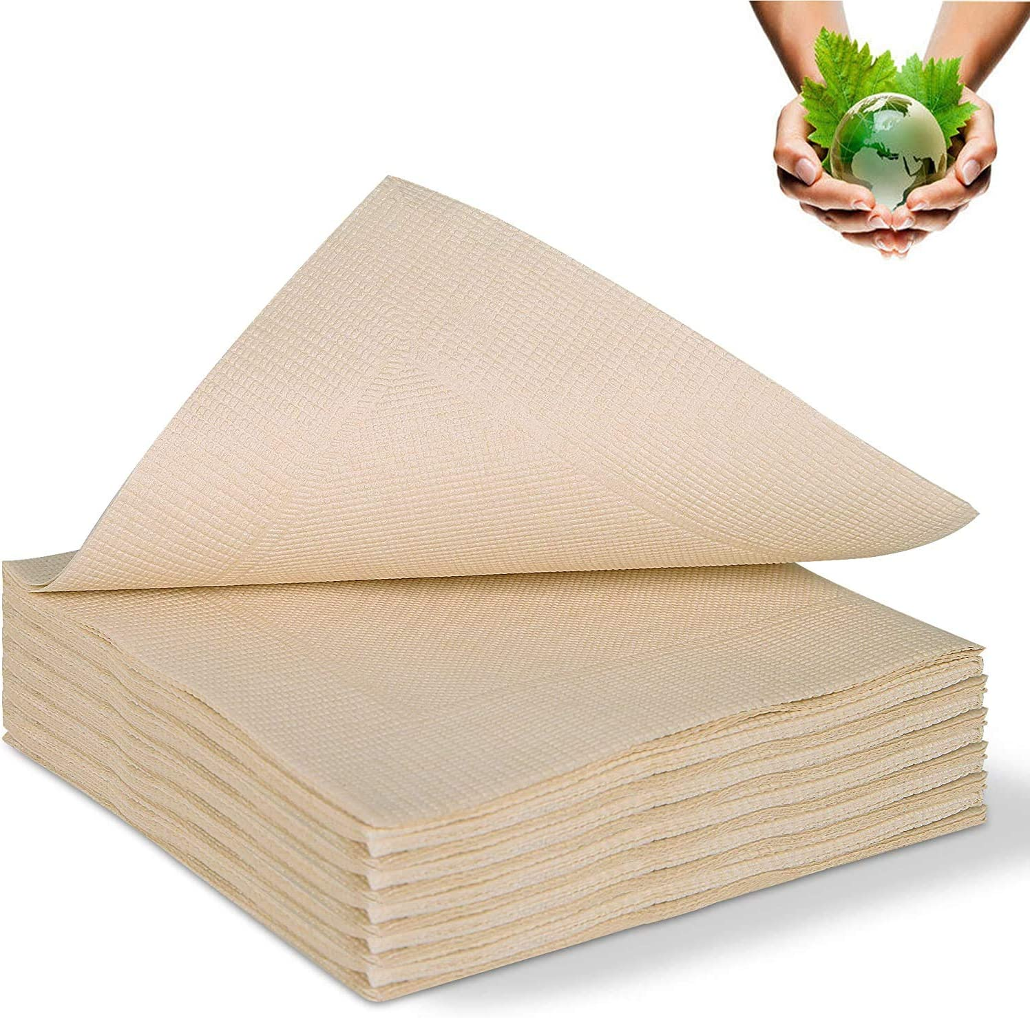 """50Pcs Recycled Post Consumer Napkins, Compostable Unbleached Eco Lunch Napkins, Disposable Dinner Napkin (13""""X 13"""")"""