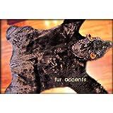 Fur Accents Faux Fur Bearskin Rug / Black / Animal Friendly Fur / Hand Made  5x6