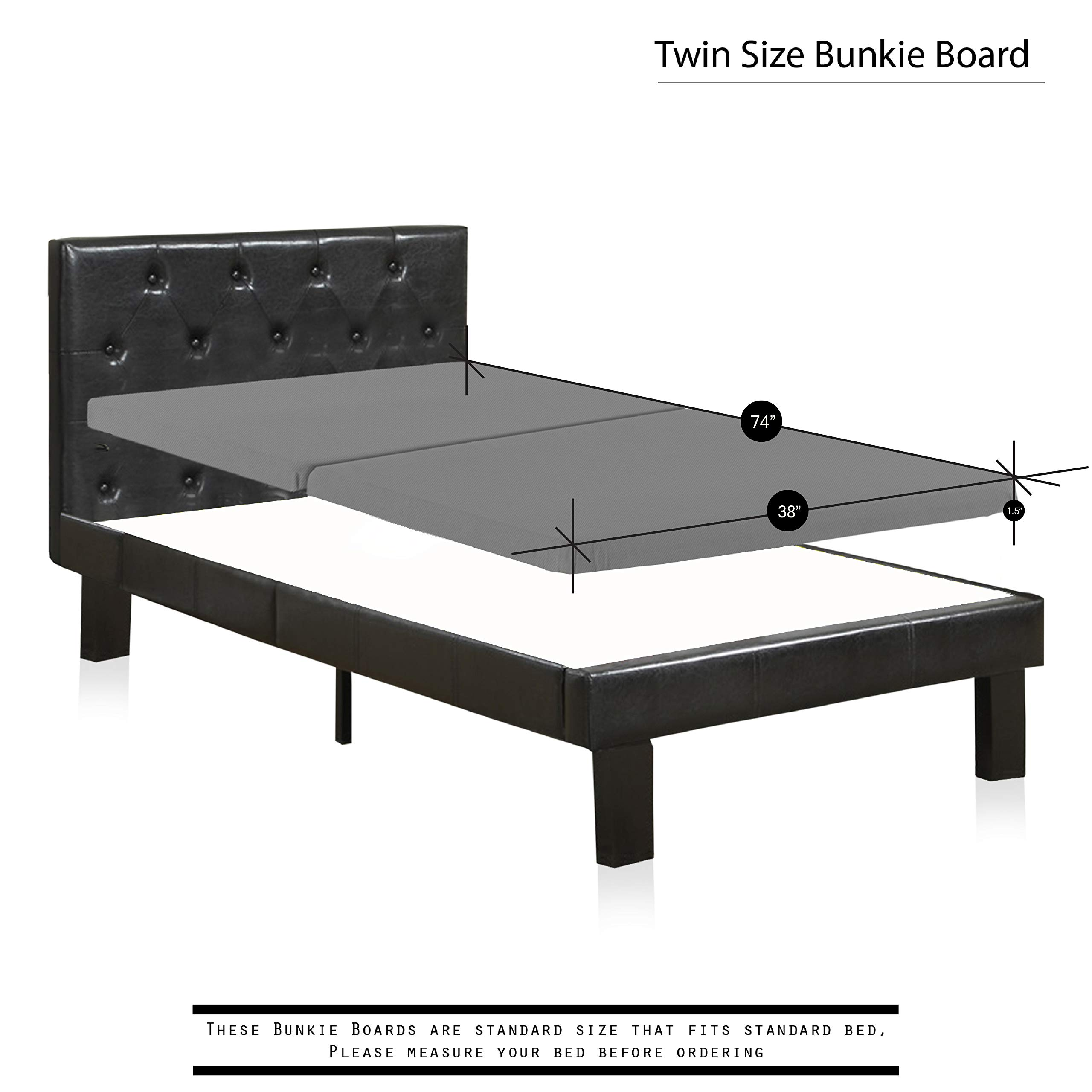 Greaton BBvv-3/3s Solid Wood Set Of Two Bunkie Board Mattress/Bed Support, Fits Standard, Twin Size, Grey by Greaton