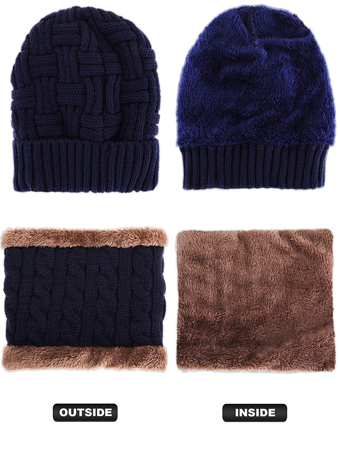 Set 11 4 Pieces Ski Warm Set includes Winter Hat Scarf Warmer Gloves Winter Outdoor Earmuffs for Adults Kids
