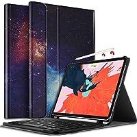 IVSO Tastatur Hülle für Apple iPad Pro 11, [QWERTZ Deutsches], Ultradünn Ständer Schutzhülle mit magnetisch abnehmbar Wireless Tastatur für Apple iPad Pro 11 Zoll 2018, Navy Night Sky